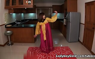 LadyboyGold Scene: Korean Strip Masturbation