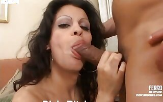 Ardent shemale raven-head taking turns with her boyfriend in oral and anal