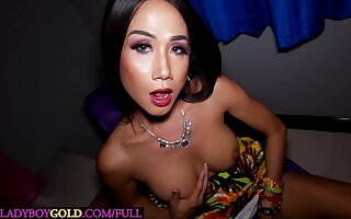 Fat Bristols Asian shemale moans with anal